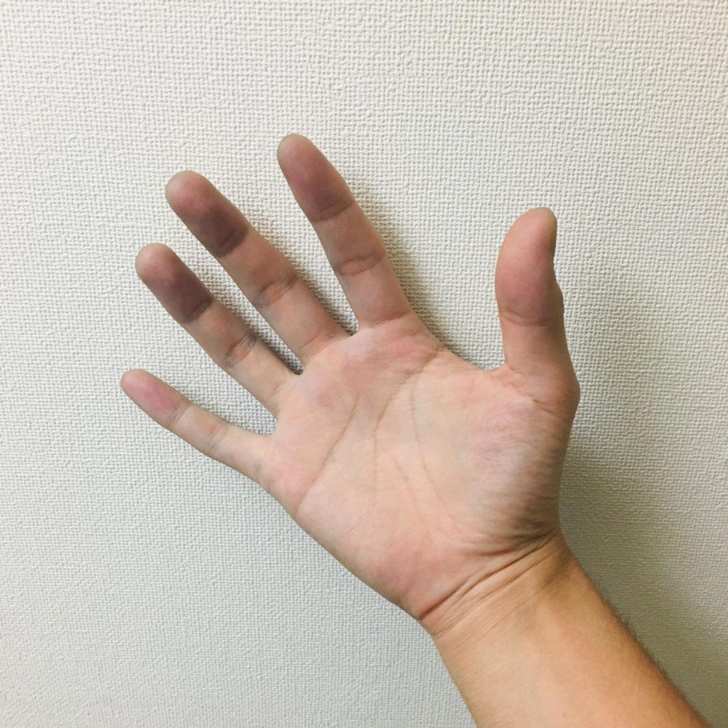 インディゴで汚れた手